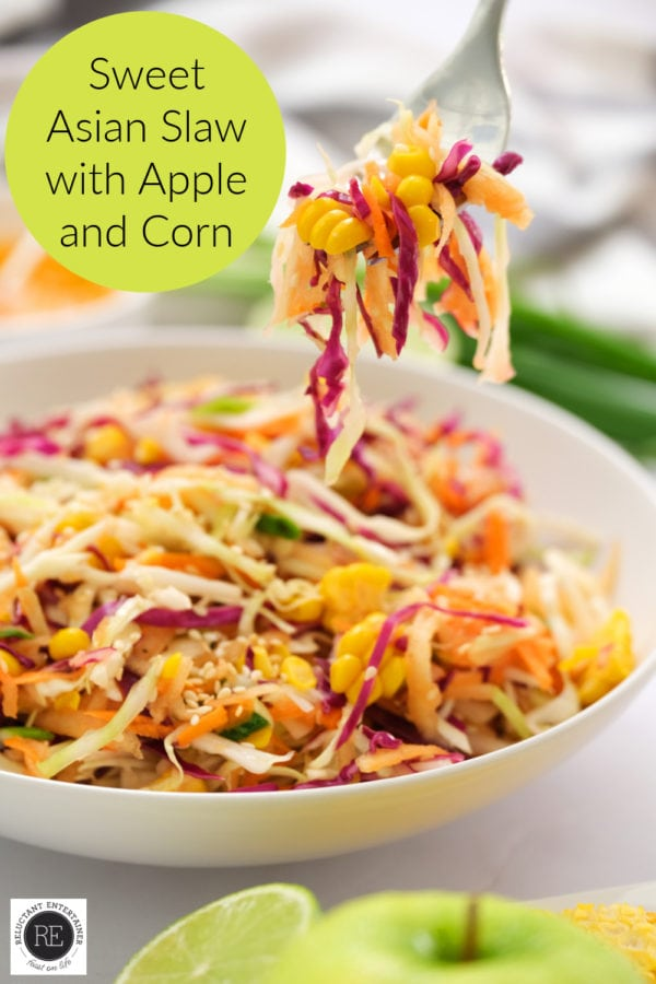 taking a bite of Sweet Asian Slaw with Apple and Corn