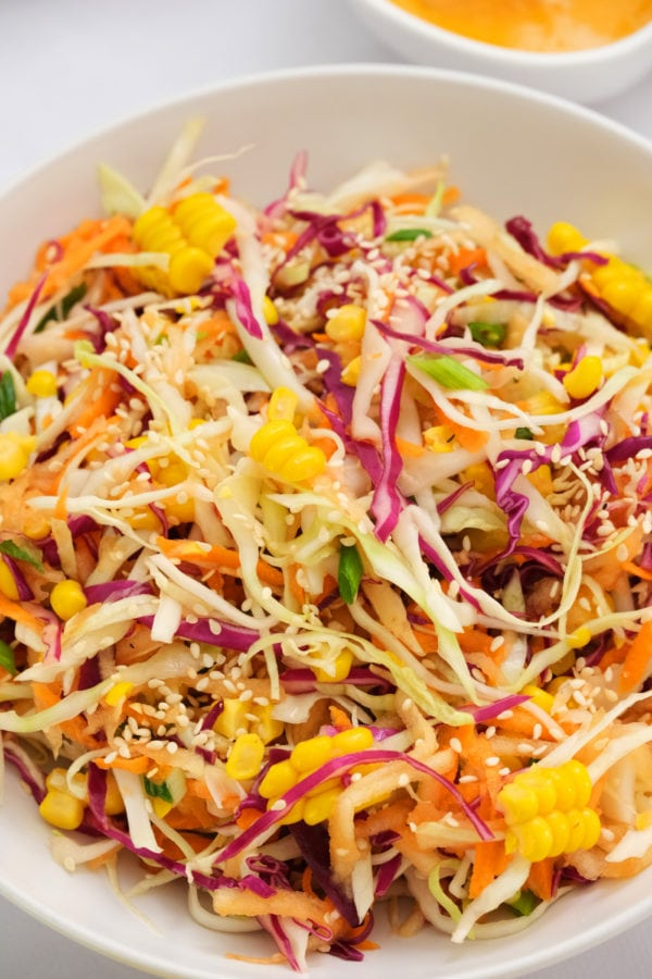 tossed Sweet Asian Slaw with Apple and Corn