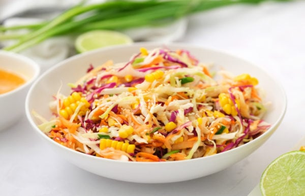 white bowl of Sweet Asian Slaw with Apple and Corn