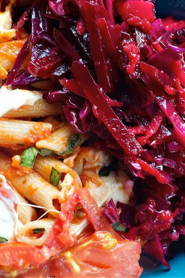 Red Cabbage Beet Slaw with pasta dinner