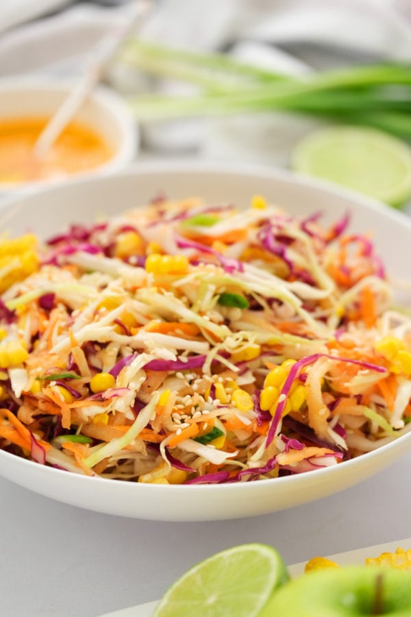 fresh Sweet Asian Slaw with Apple and Corn