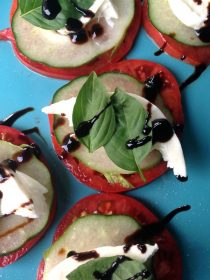 """Cucumber Caprese Bites. """"Courage is being scared to death, but saddling up anyway."""" ― John Wayne ... ReluctantEntertainer.com"""