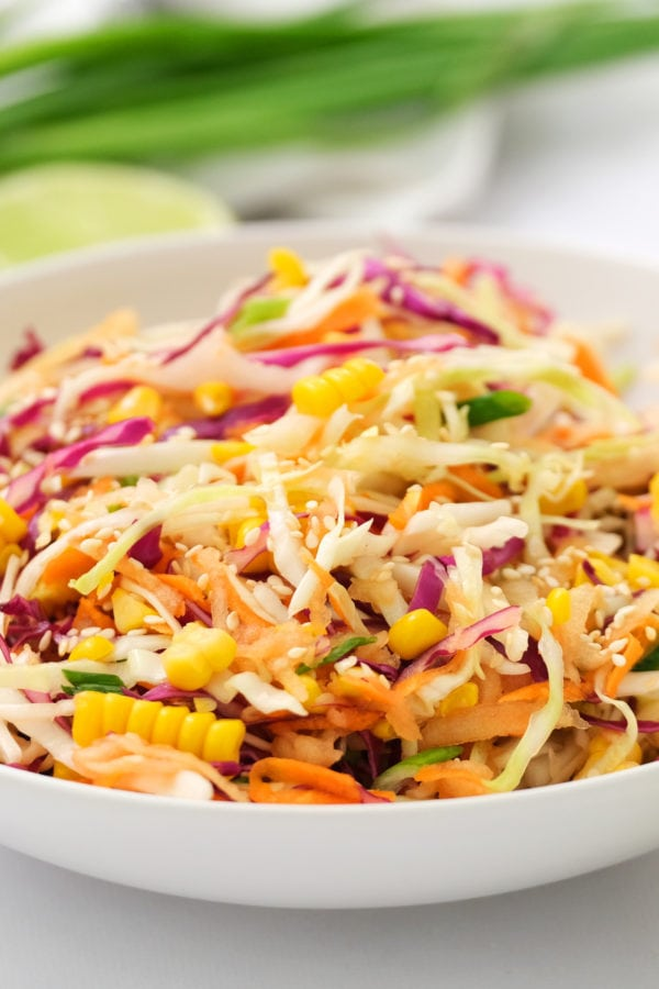 shaved Sweet Asian Slaw with Apple and Corn