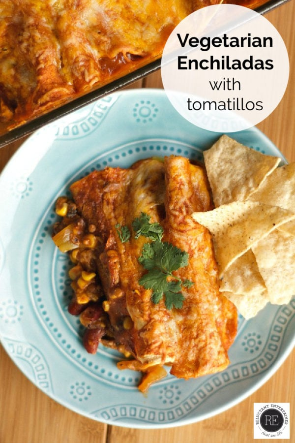 veggie enchiladas served on blue plate