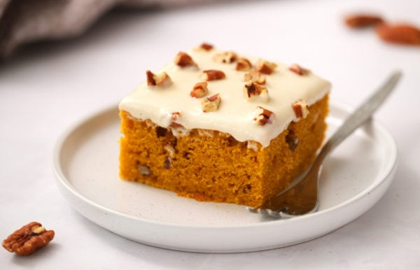 slice of Pumpkin Cake with Maple Frosting