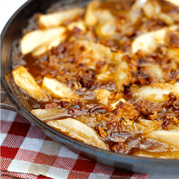 Apple Pear Skillet Dessert with Pecan Coconut Topping