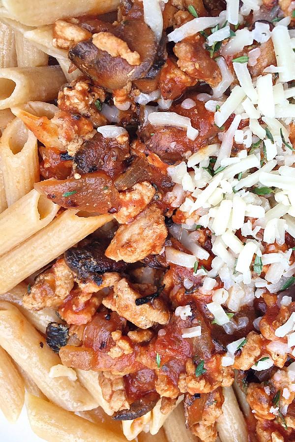 Bacon Mushroom Ragu Pasta   ReluctantEntertainer.com