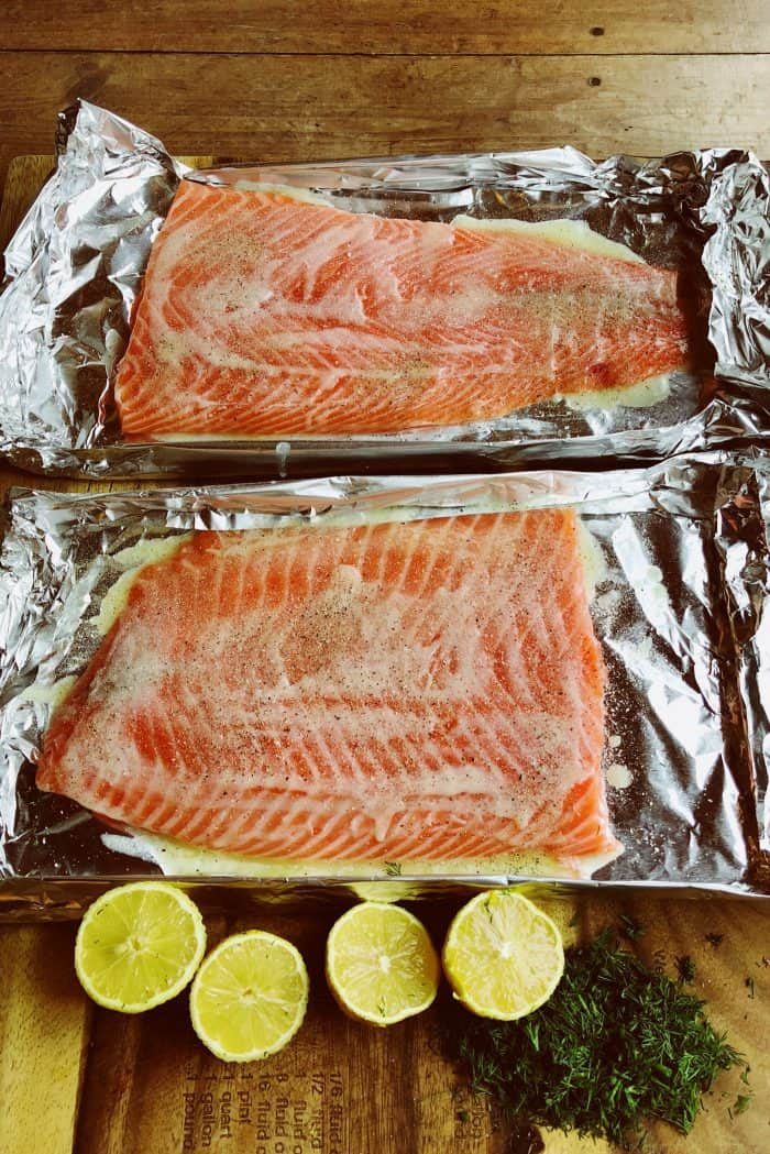 Preparing Grilled Lemon Dill Salmon