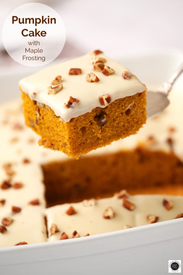 piece of pumpkin cake with maple frosting