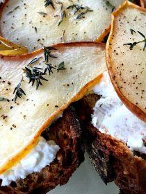 Roasted Honey Pear Crostini