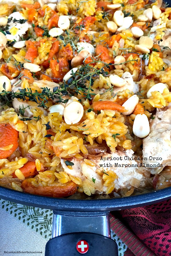 Apricot Chicken Orzo with Marcona Almonds