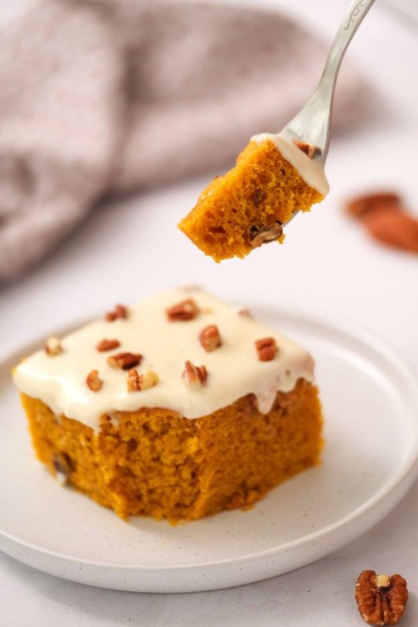 bite of pumpkin cake