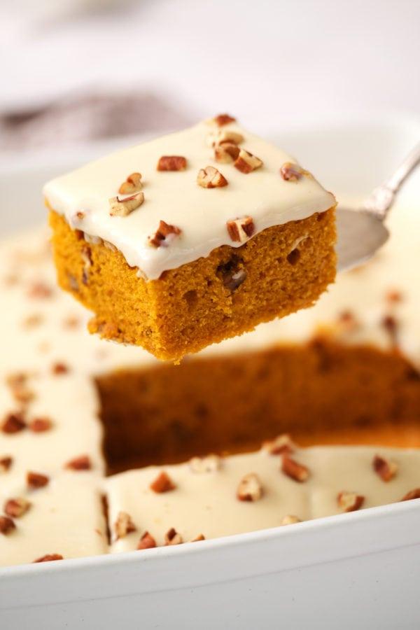 square piece pumpkin cake