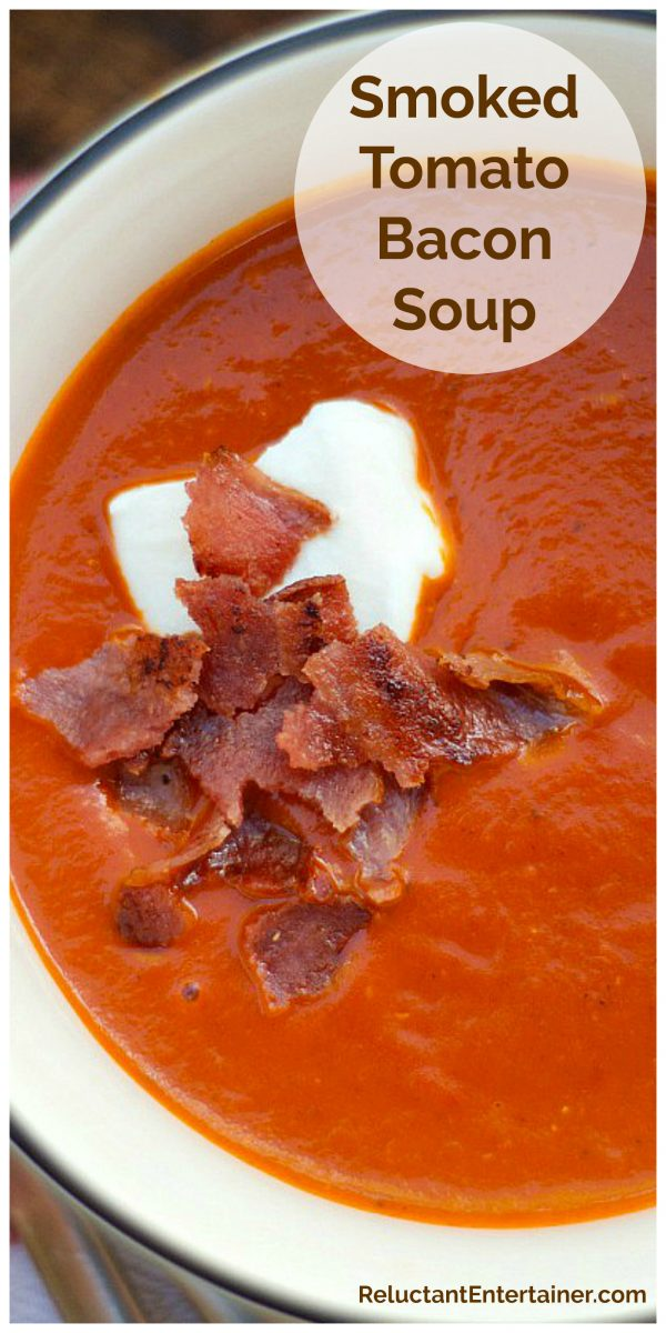 tomato soup with creme fraiche and crunchy bacon