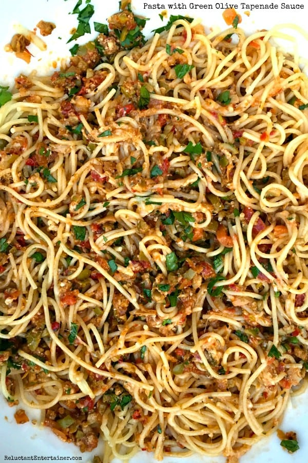 Pasta with Green Olive Tapenade Sauce
