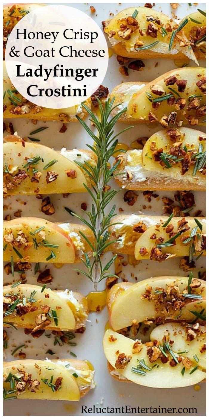 Honey Crisp and Goat Cheese Ladyfinger Crostini