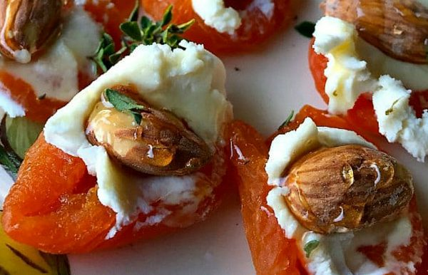 goat cheese and almond on dried apricot