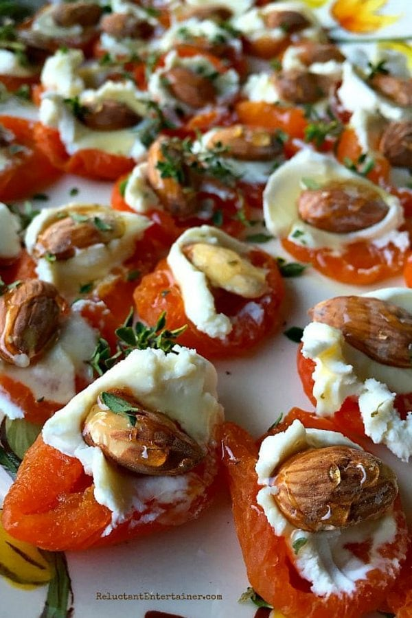 goat cheese and almond on dried apricot, drizzled with honey