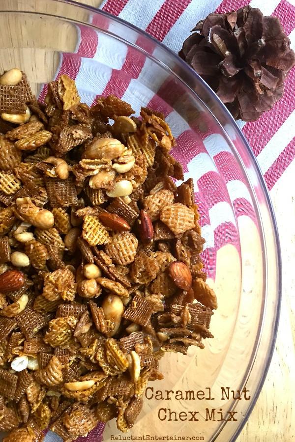 Caramel Nut Chex Mix Recipe | ReluctantEntertainer.com