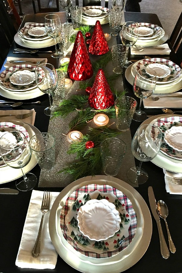 Holiday Winter's Eve Table Setting with Cranberry Pear Chutney Appetizer