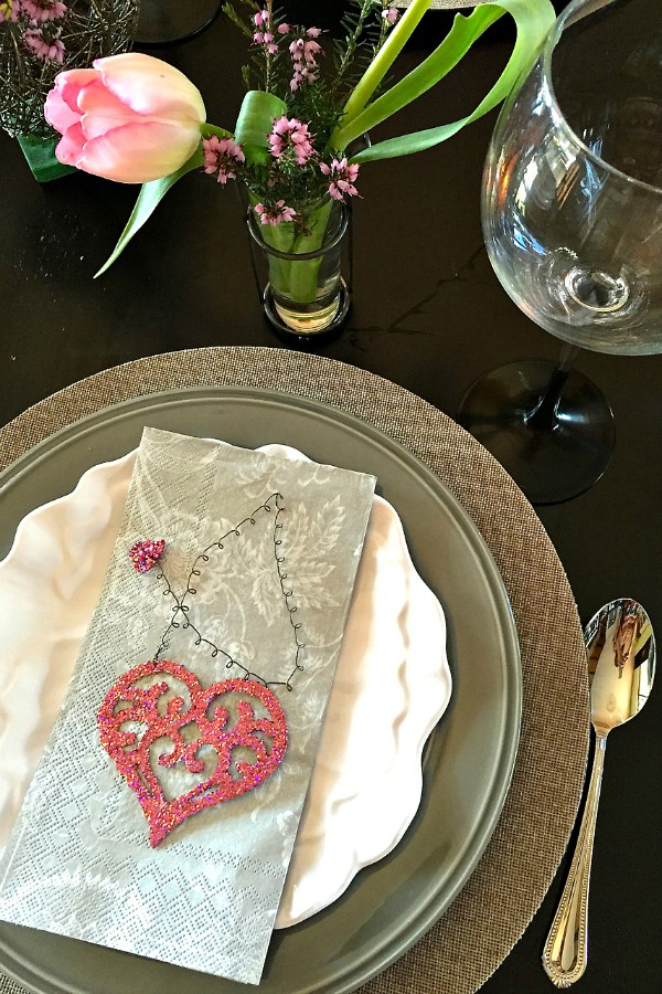 Sweet Whimsical Valentine's Table with Baked Bananas Foster a la Mode Dessert