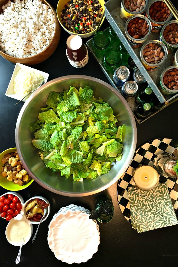 Caesar Salad Bar with Homemade Dressing and Blue Diamond Almonds
