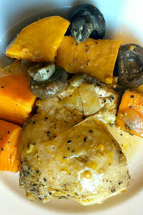 one pot meal of chicken thighs, sweet potatoes, and mushrooms