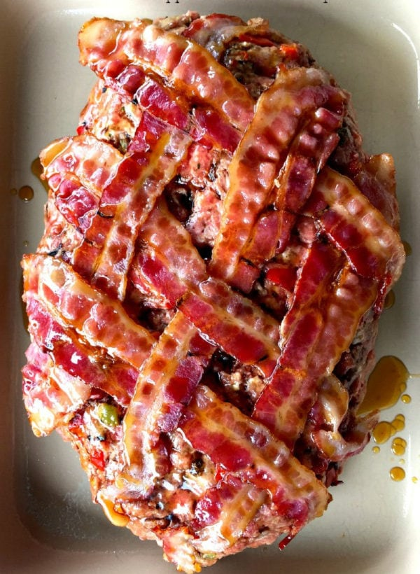 oval shaped bacon wrapped beef meat loaf