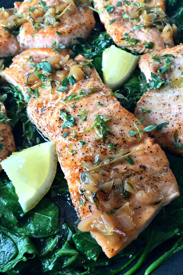 Pan-Roasted Salmon with Thyme Butter Sauce
