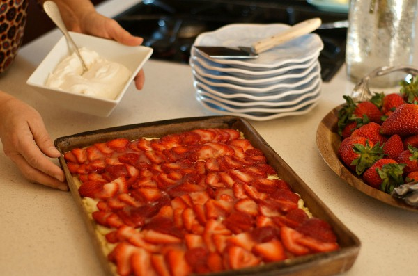 serving a Strawberry Cream Shortbread Dessert