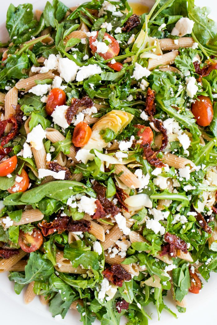 arugula pasta salad with whole wheat pasta