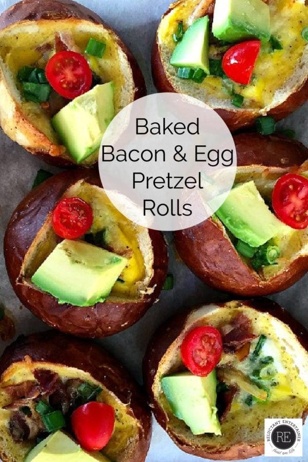 baked bacon and egg pretzel rolls