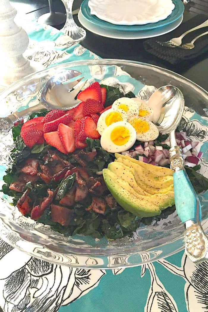Easy Strawberry Avocado Kale Salad with Bacon