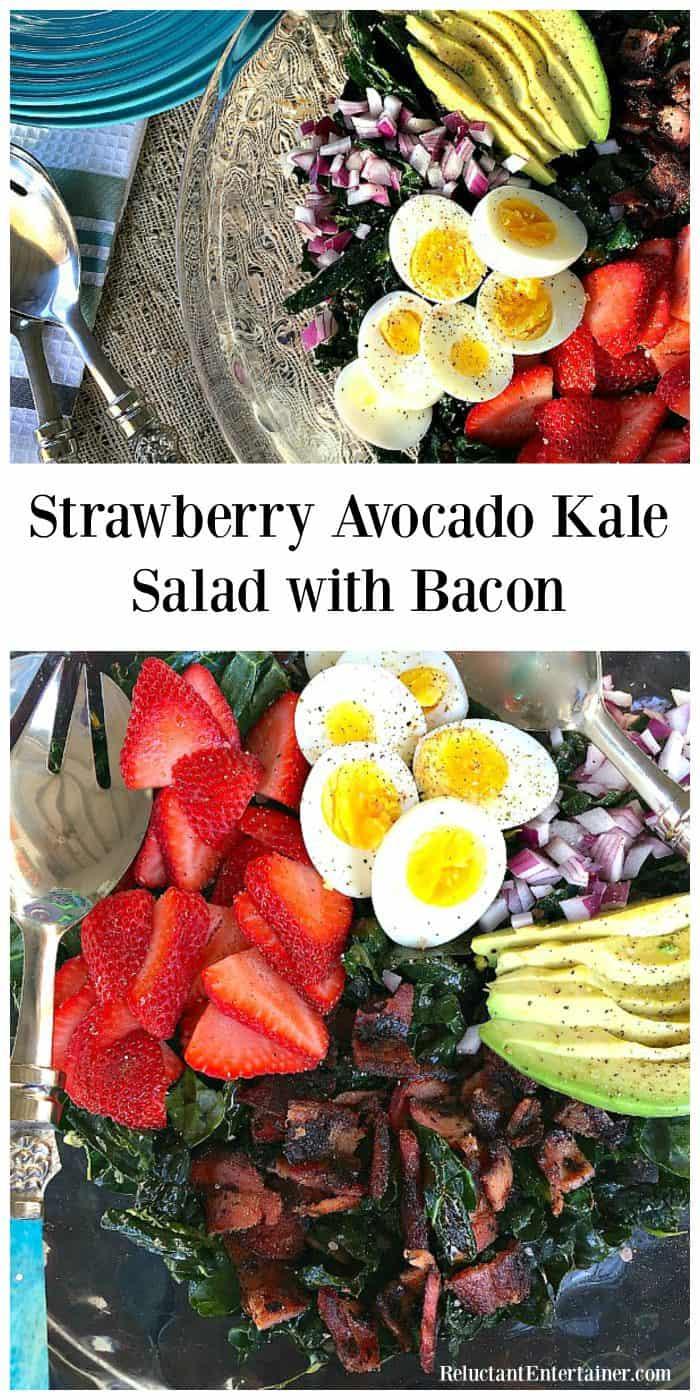 Best Strawberry Avocado Kale Salad with Bacon Recipe