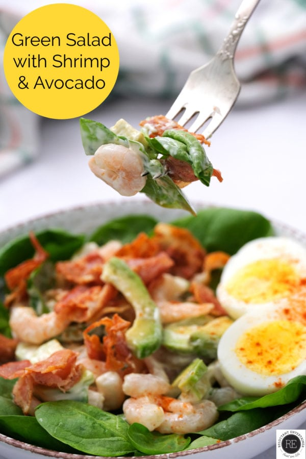 fork bite of Green Salad with Shrimp and Avocado