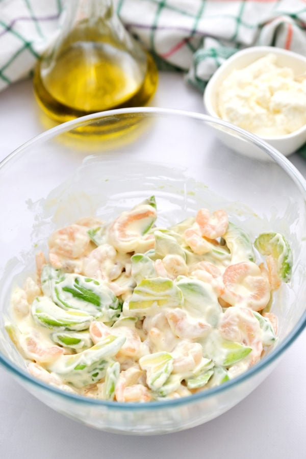 Green Salad with Shrimp and Avocado in dressing