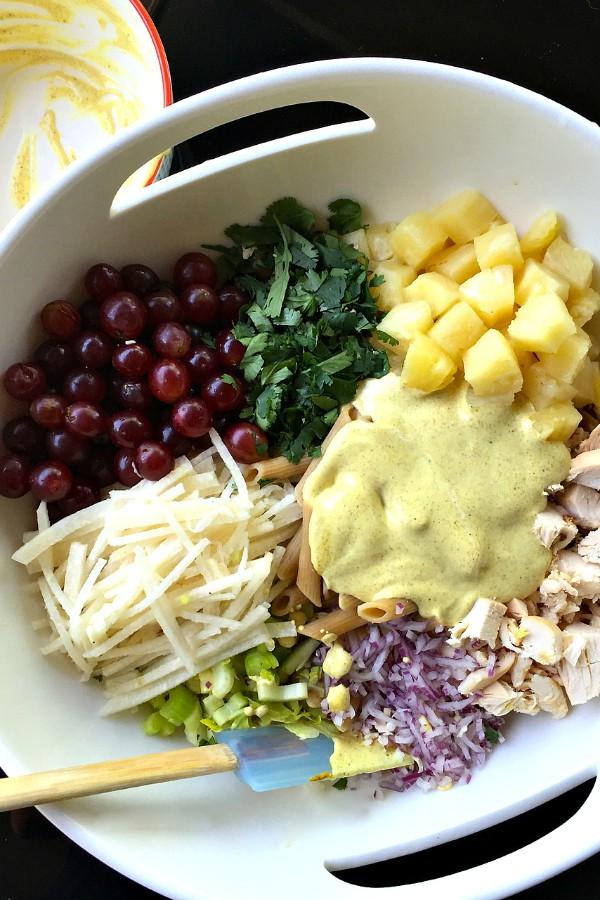 Curried Jicama Fruit Pasta Salad