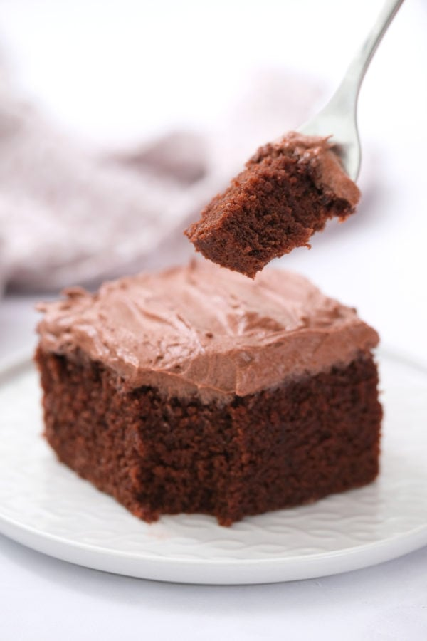 piece of chocolate cake with frosting