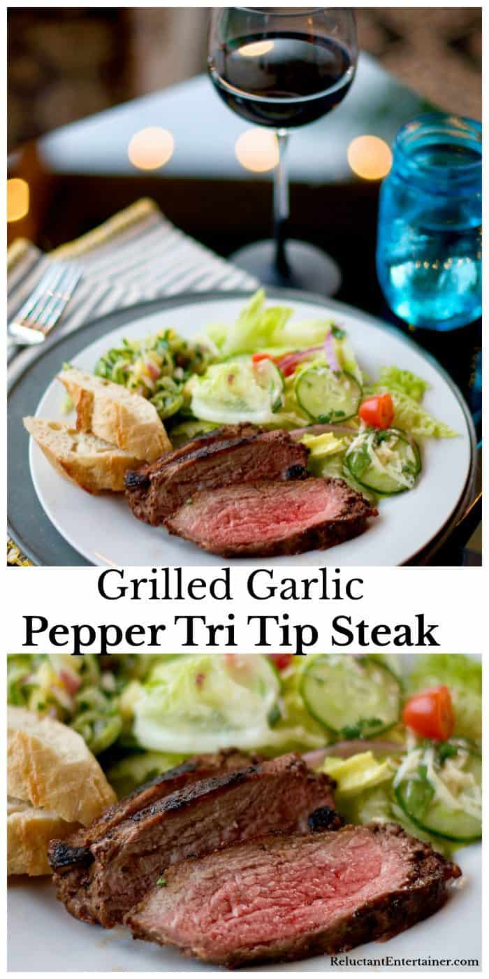 A plate of Delicious Grilled Garlic Pepper Tri Tip Recipe, and a close up shot of the meat