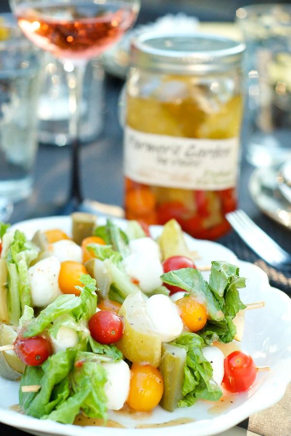 Pickle Caprese Salad Kebabs