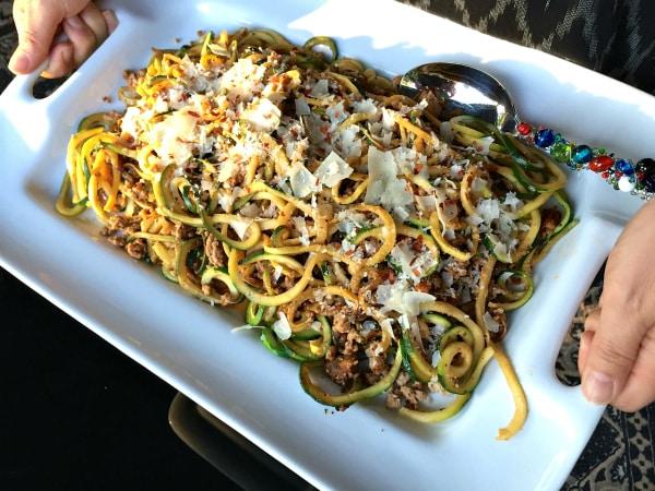 Ground Turkey Pesto Yellow Squash and Zucchini Noodles