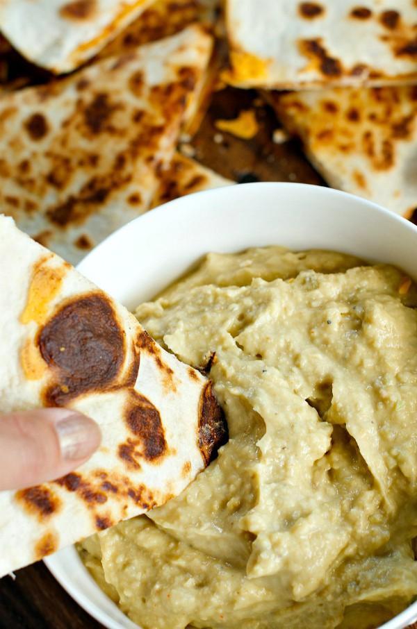 Spicy Avocado Hummus with Cheesy Quesadillas