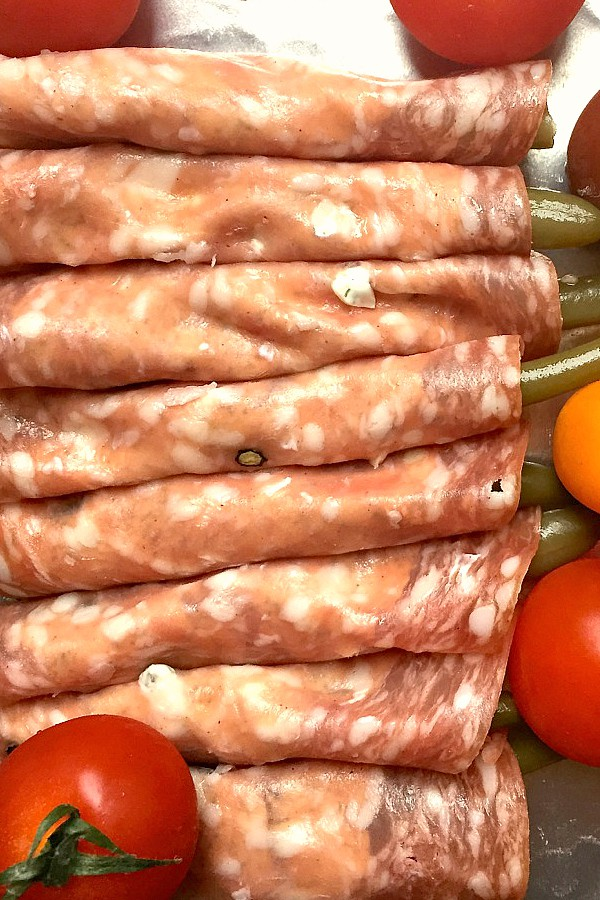 Pickled Green Bean Salami Rolls