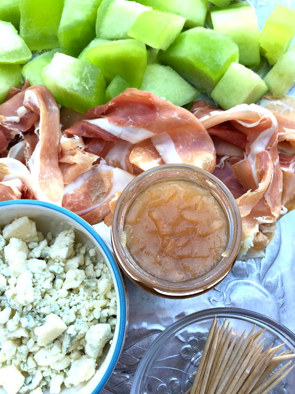 Prosciutto Wrapped Honeydew with Blue Cheese