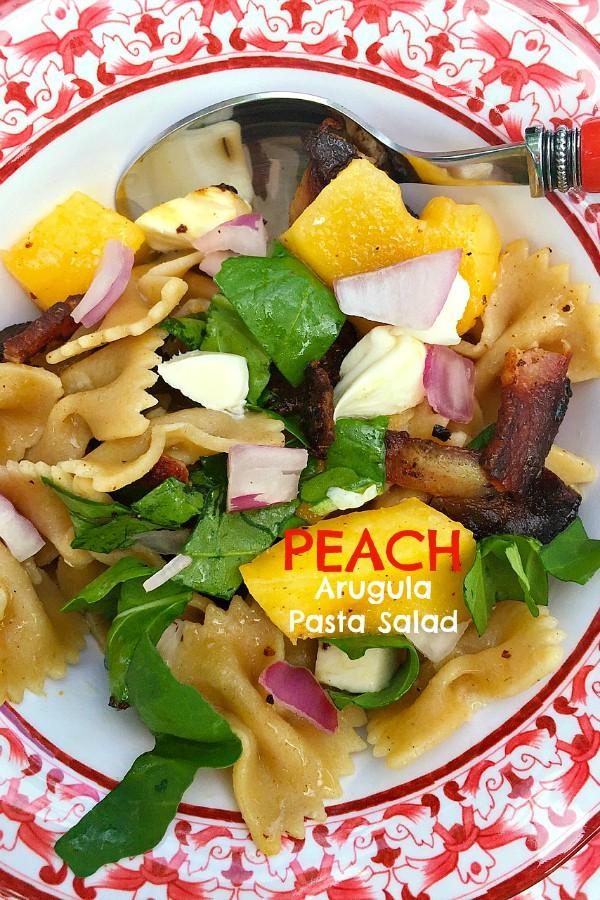 Peach Arugula Pasta Salad