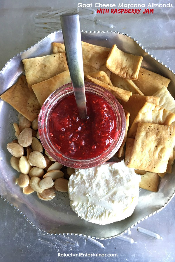 Goat Cheese Marcona Almonds with Raspberry Jam Appetizer