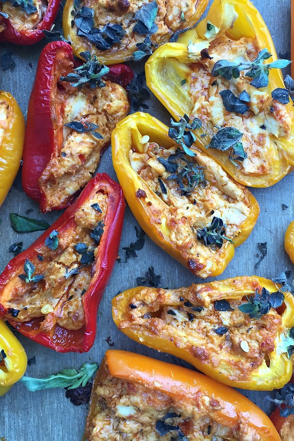 Pesto Goat Cheese Stuffed Mini Peppers | ReluctantEntertainer.com