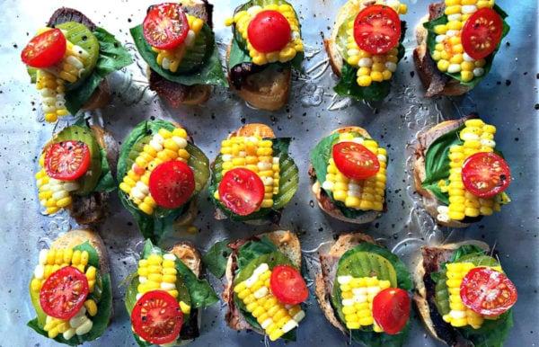 a platter of garden tri tip crostini