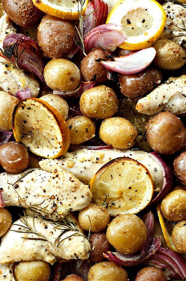 pot of chicken lemon potatoes