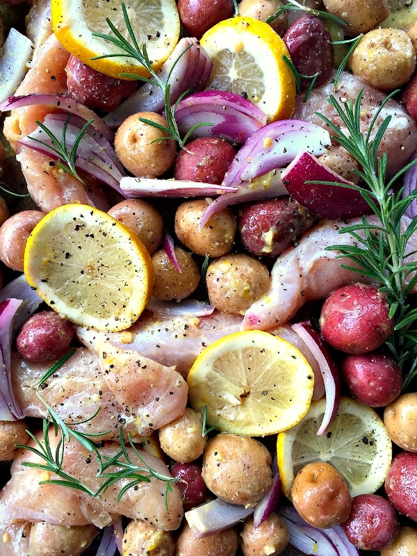 Lemon-Rosemary Roasted Chicken Tenders with Potatoes | ReluctantEntertainer.com